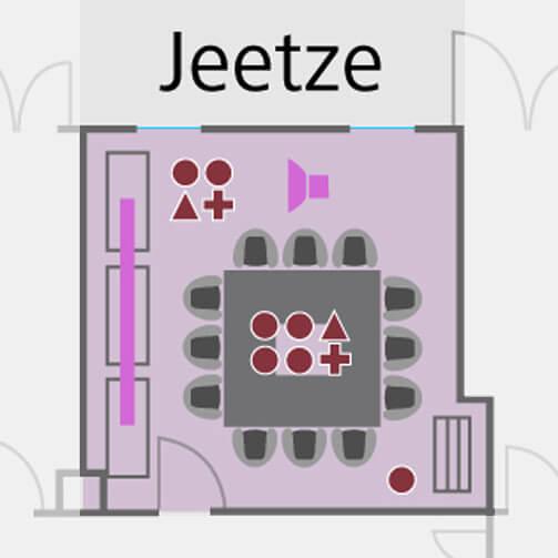 Tagungsraum Jeetze im Holiday Inn Hamburg, für bis zu 8 Personen.