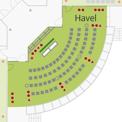 Tagungsraum Havel im Holiday Inn Hamburg, für bis zu 60 Personen.