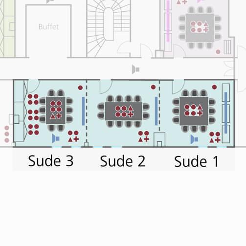 Tagungsraum Sude 1+2+3 im Holiday Inn Hamburg für bis zu 45 Personen.